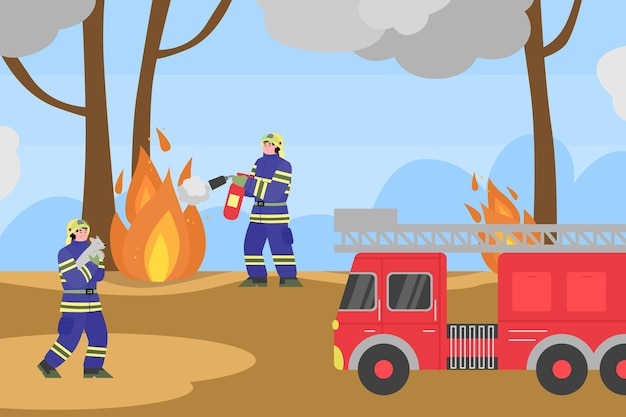 Sfondo con i vigili del fuoco che cercano di spegnere gli incendi nella foresta, fumetto piatto. banner di disastro di incendio violento con squadra di soccorso dei vigili del fuoco.