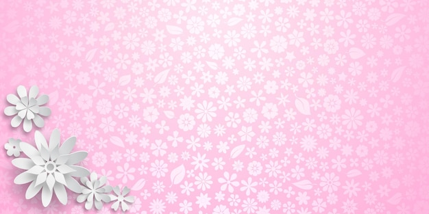 Sfondo con trama floreale in colori rosa e diversi grandi fiori di carta bianca con ombre morbide