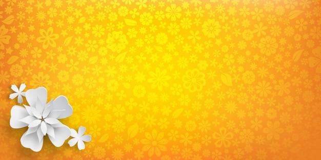 Sfondo con trama floreale in colori gialli e diversi grandi fiori di carta bianca con ombre morbide