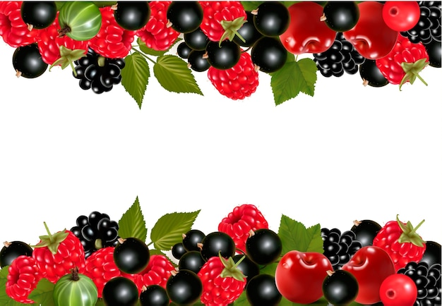 Sfondo con bacche fresche e ciliegie.
