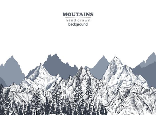 Sfondo con catene montuose grafiche disegnate a mano e pineta natura paesaggio
