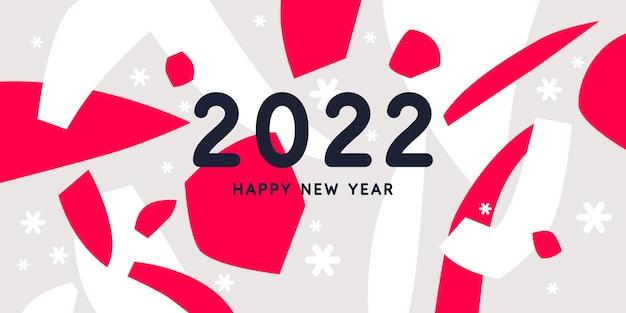 Sfondo con la scritta happy new year 2022 illustrazioni con forme piatte disegnate a mano