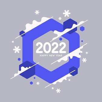 Sfondo con la scritta happy new year 2022 illustrazione vettoriale in stile piatto piatto