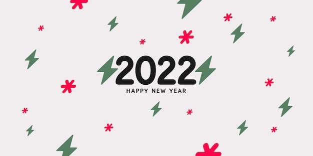 Sfondo con la scritta happy new year 2022 illustrazione vettoriale in stile moderno
