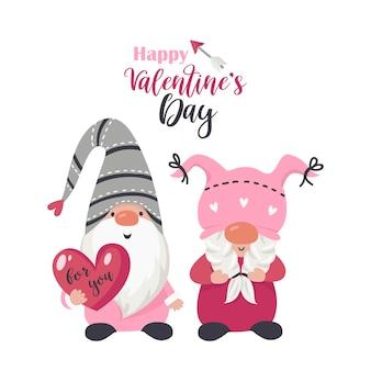 Sfondo con gnomi d'amore con cuore per san valentino. illustrazione per biglietti di auguri, inviti di natale e t-shirt