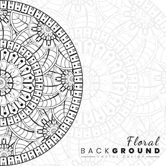 Sfondo con fiori mehndi copertina del libro con trama floreale linee nere su sfondo bianco