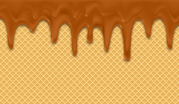 Sfondo con cioccolato fondente su wafer.