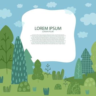 Sfondo con paesaggio naturale. illustrazione con alberi, erba, cielo, nuvole