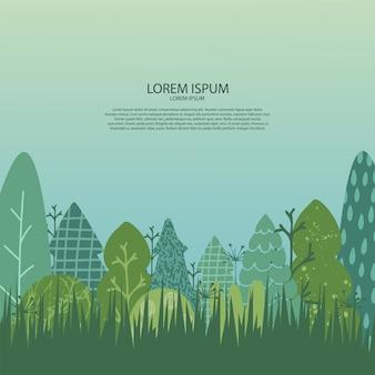 Sfondo con paesaggio naturale. illustrazione con alberi, erba, cielo