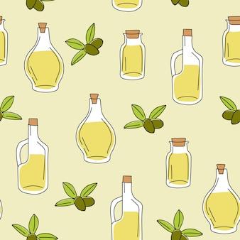 Sfondo con olio d'oliva in bottiglia di vetro - modello senza cuciture per la stampa su tessuto e carta o prenotazione rottami.