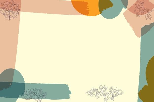Sfondo con pennelli color pastello e foglie line art metà secolo