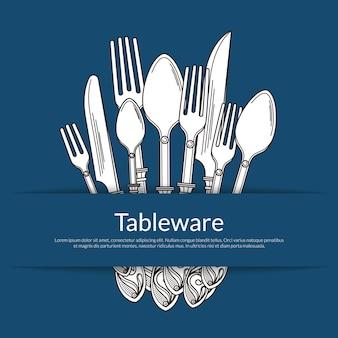 Sfondo con il mucchio di stoviglie disegnate a mano in tasca di carta con il posto per il testo. coltello e forchetta, cucchiaio e stoviglie per illustrazione cena
