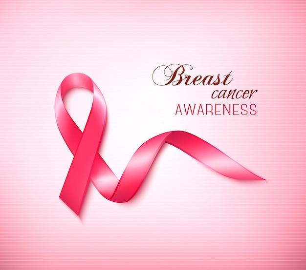 Sfondo con nastro rosa cancro al seno.