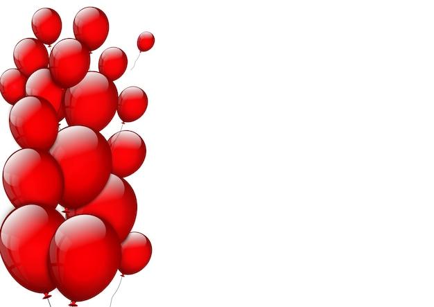 Sfondo con palloncini rossi su sfondo bianco. compleanno.