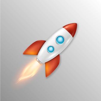 Sfondo con il lancio del razzo spaziale retrò