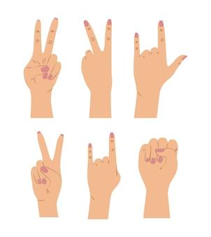 Sfondo con set di segnali di mani femminili in colore della pelle