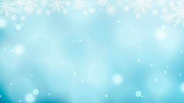 Sfondo con fiocchi di neve, starburst, scintillii ed effetto luce vettoriale per biglietto di auguri di lusso.