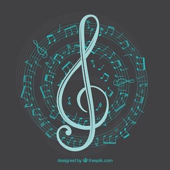 Sfondo con le note musicali a trecce e spirale