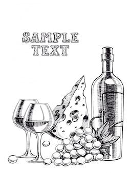 Sfondo con una bottiglia di vino