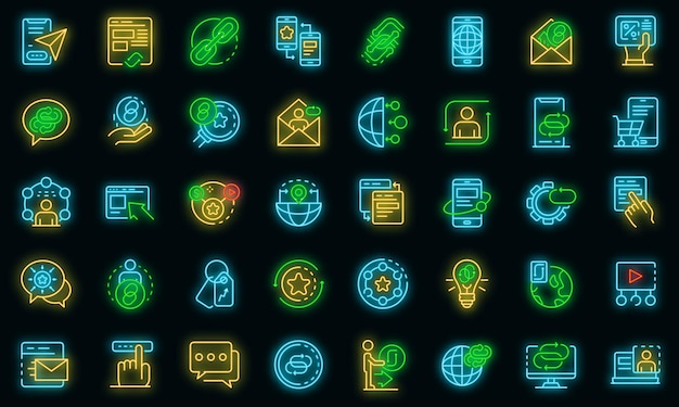 Set di icone di strategia di backlink. delineare il set di icone vettoriali per la strategia di backlink colore neon su nero
