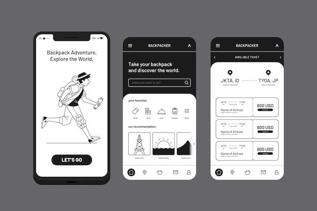 App per cellulare con zaino e avventura