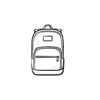 Icona di doodle di contorno disegnato a mano dello zaino. illustrazione di schizzo di vettore dello zaino della scuola per stampa, web, mobile e infografica isolato su priorità bassa bianca.