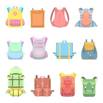 Zaino, valigia e set di borse per la scuola, i viaggi e lo stile di vita casual.