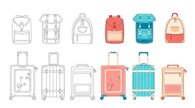 Zaino e valigie in un design piatto semplice contorno