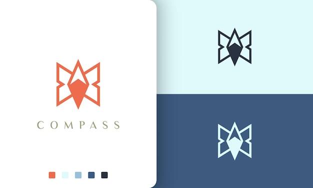 Zaino in spalla o logo di avventura design vettoriale con forma di bussola semplice e moderna