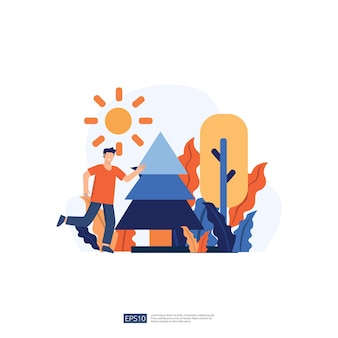 Zaino in spalla e illustrazione vacanza in campeggio senza carattere giovane volto. persone di sesso maschile in piedi con gesti. illustrazione vettoriale isolato stile piano