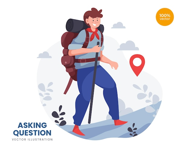 Concetto di zaino in spalla idea di illustrazione, l'uomo o il ragazzo fa una vacanza per destinazione avventura. esplora la natura.