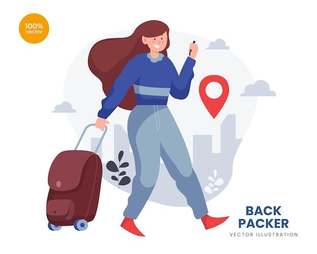 Idea dell'illustrazione di vettore di concetto del viaggiatore con zaino e sacco a pelo, la donna o la ragazza fanno una vacanza per la destinazione di avventura.