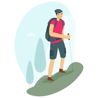 Un viaggiatore con zaino e sacco a pelo sta camminando su una montagna durante il giorno