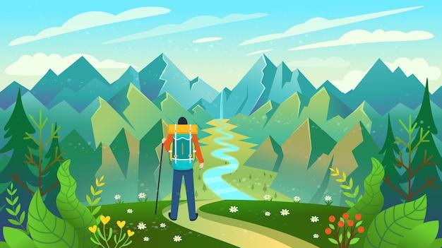 Un viaggiatore con zaino e sacco a pelo che sta sulla cima di una montagna che gode della vista del fiume