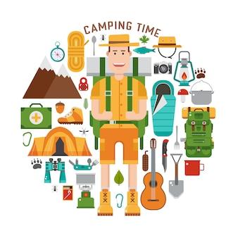 Set da campeggio vettoriale zaino in spalla. escursione e attrezzatura da campeggio in piano.