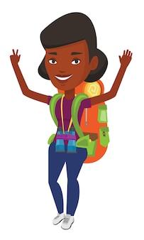 Backpacker con le mani in alto per celebrare il successo.