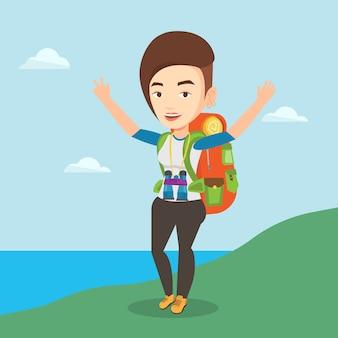 Viaggiatore con zaino e sacco a pelo con le sue mani su che gode del paesaggio.