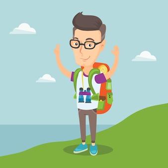 Backpacker con le mani in alto godendo il paesaggio.