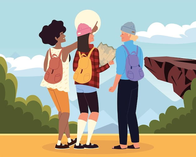 I viaggiatori zaino in spalla esplorano viaggi avventurosi nella natura