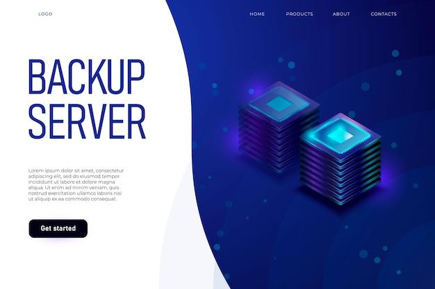 Concetto di illustrazione del server di backup con intestazione e posto per il testo.