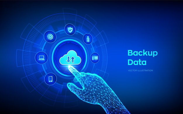 Dati di archiviazione di backup. backup su cloud online dei dati aziendali. mano robotica toccando l'interfaccia digitale.