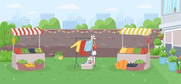 Colore piatto del mercato degli agricoltori nel cortile. evento pubblico della comunità per il commercio locale. contatori per vendemmia. mercato urbano 2d cartone animato paesaggio con paesaggio urbano sullo sfondo