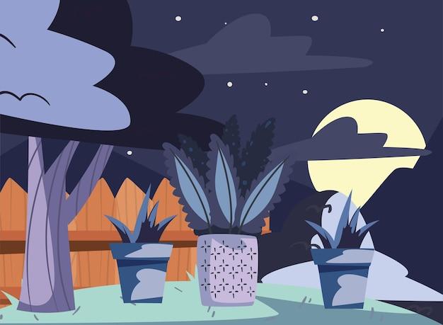 Recinzione del cortile nella scena notturna night