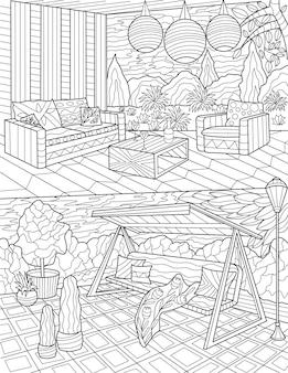 Backyard lounge doodle lampade a sospensione tavoli sedie incolore disegno a tratteggio area relax all'aperto