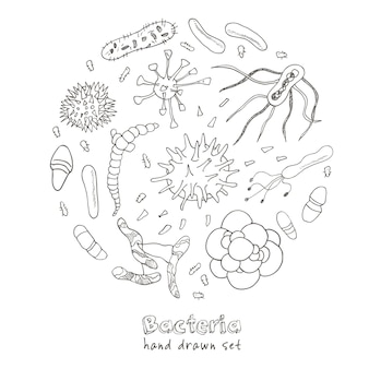 Set di icone di virus batteri. schizzi. disegno a mano.