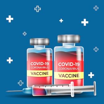 Batteri con bottiglie di vaccino
