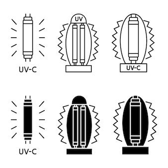 Lampada uv battericida. lampada sterilizzatrice uv-c. dispositivo con luce ultravioletta. irradiazione germicida ultravioletta e sterilizzazione. pulizia delle superfici, procedura di decontaminazione medica. icone vettoriali