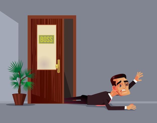 Capo arrabbiato cattivo ha battuto il personaggio dell'uomo di impiegato impiegato. abuso di lavoro aggressione concetto di discriminazione. illustrazione di cartone animato piatto
