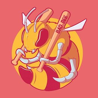 Concetto di design dell'illustrazione del personaggio di bad bee