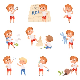 Ragazzi di cattivo comportamento. scuola ragazzi e ragazze tristi personaggi arrabbiati diavolo piccole persone.